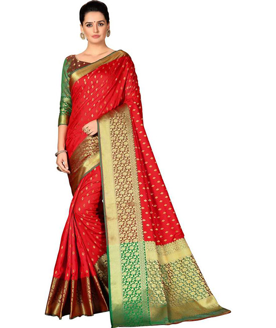 Self Design Red Kanjivaram Art Silk, Cotton Silk Saree