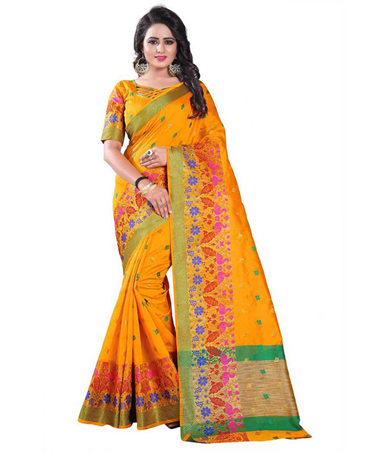 Woven Chanderi Cotton Silk Saree  (Yellow)