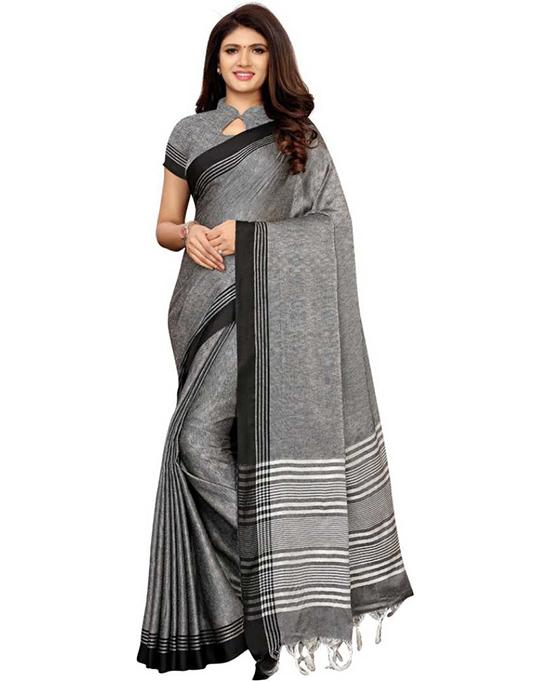 Chanderi Cotton Linen Blend Saree (Black)