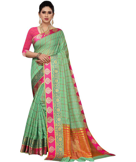 Chanderi Cotton Silk Saree  (Green)