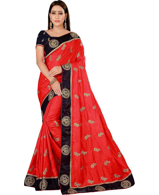 Embroidered Red Kanjivaram Art Silk Saree