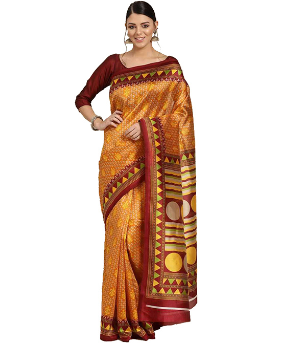 Chanderi Cotton Silk Saree  (Yellow)