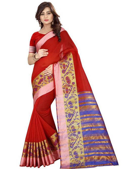 Chanderi Cotton Blend Saree (Maroon, Blue)