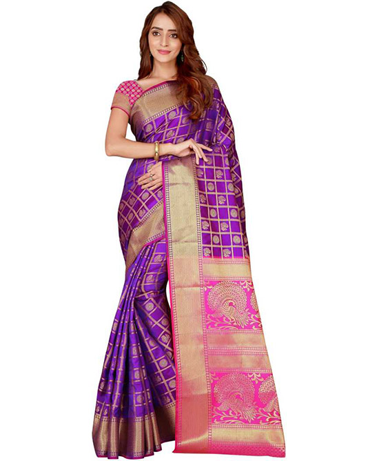 Chanderi Poly Silk Saree  (Purple, Gold)