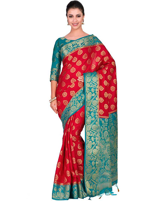Embellished Red Kanjivaram Art Silk Saree