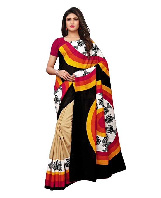 Chanderi Cotton Silk Saree (Multicolor)