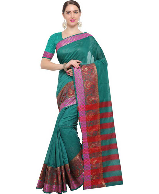 Chanderi Poly Silk Saree (Dark Green, Red)