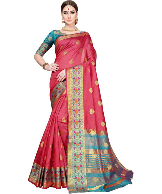 Woven Red Kanjivaram Jacquard, Art Silk Saree