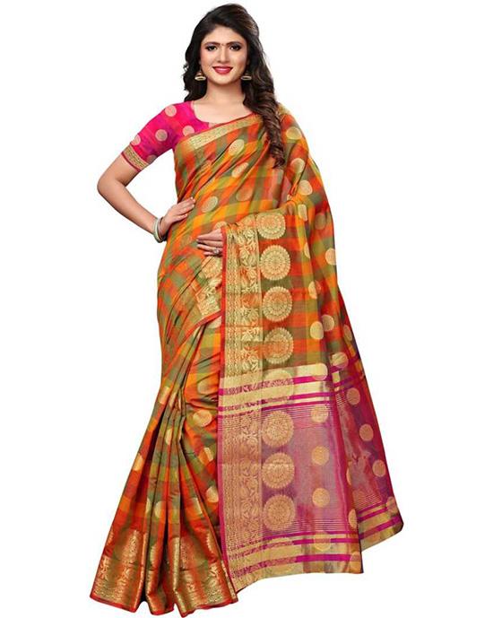 Chanderi Cotton Blend, Poly Silk Saree (Orange, Light Green)