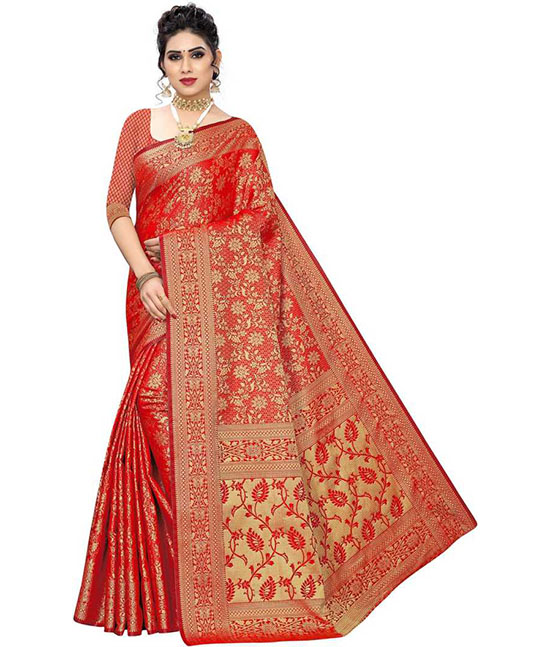 Embroidered Red Kanjivaram Silk Blend, Jacquard Saree