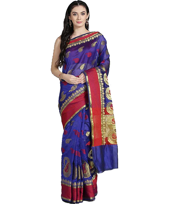 Chanderi Art Silk Saree  (Blue)