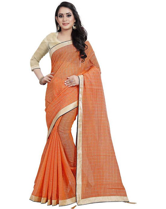 Chanderi Cotton Silk Saree (Orange)