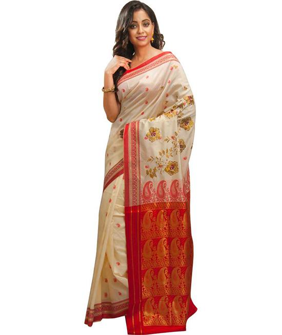 Floral Print Red Kanjivaram Handloom Saree