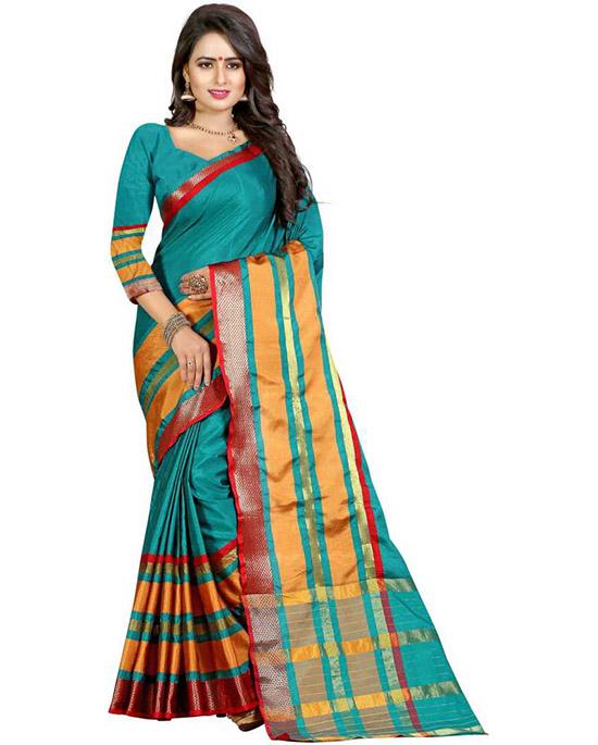 Chanderi Cotton Blend, Art Silk Saree (Dark Green)