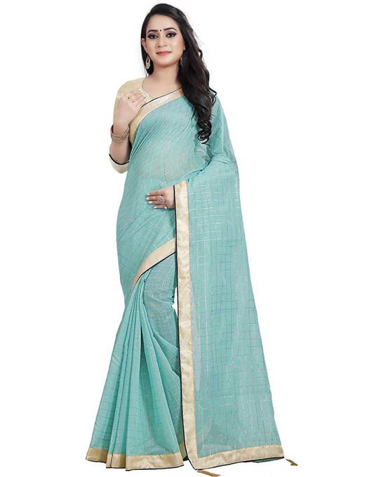 Chanderi Cotton Silk Saree (Blue)