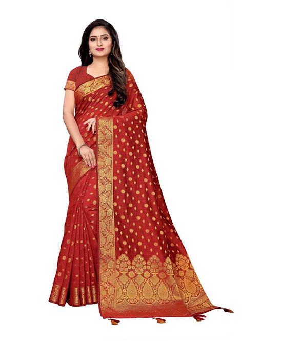 Chanderi Cotton Silk Saree  (Maroon)