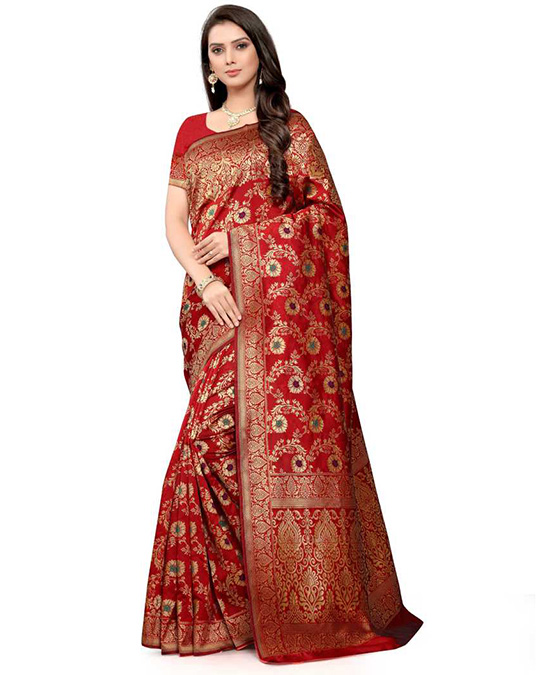 Embellished Red Kanjivaram Cotton Blend Saree