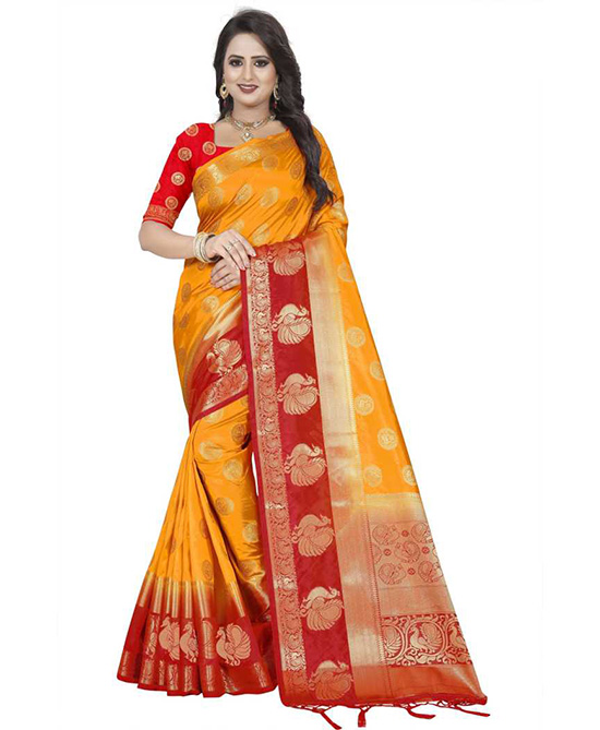Animal Print Red Kanjivaram Art Silk Saree