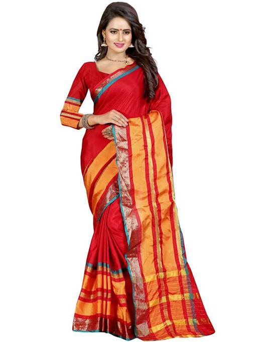 Chanderi Cotton Blend, Art Silk Saree (Red)