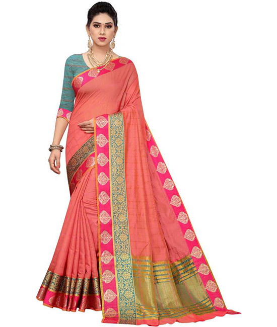 Chanderi Cotton Silk Saree  (Pink)