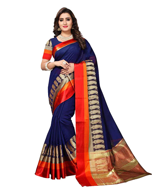 Chanderi Poly Silk Saree  (Dark Blue)