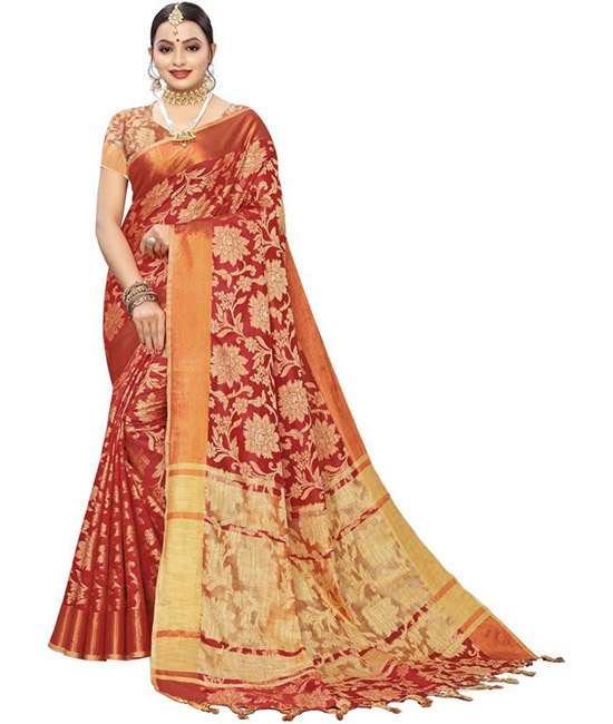 Red Kanjivaram Silk Blend, Jacquard Saree