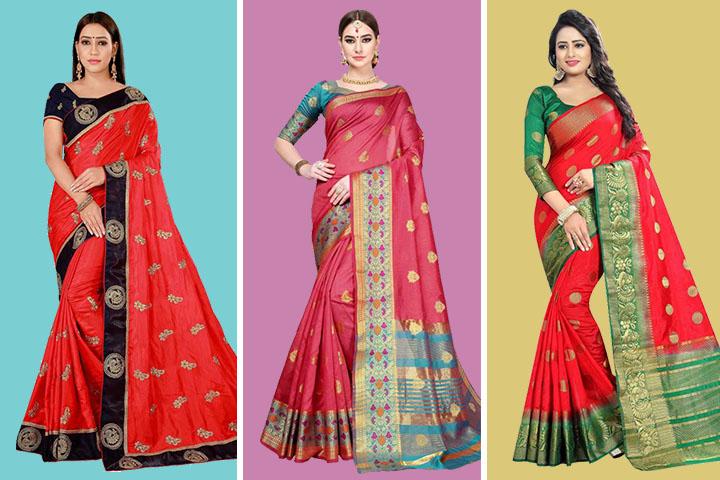 20 Beautiful Red Kanjivaram Sarees Suitable for Every Occasion!