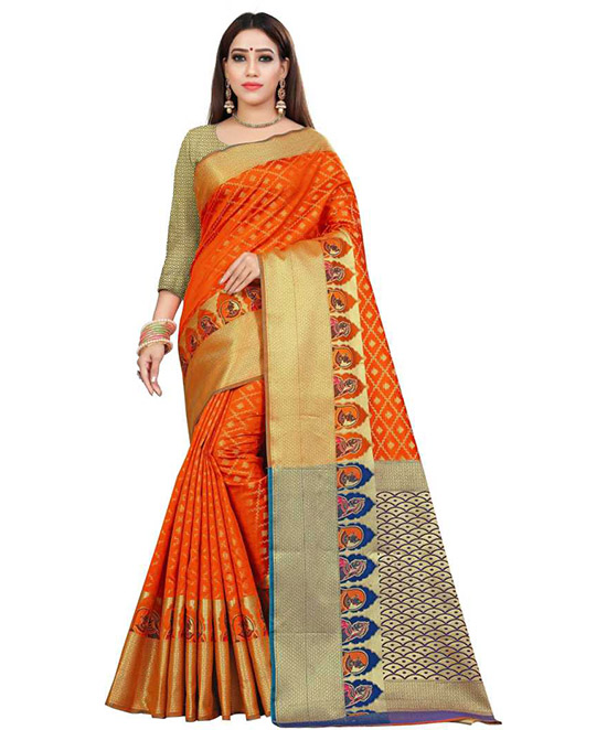 Chanderi Pure Silk Saree  (Orange)