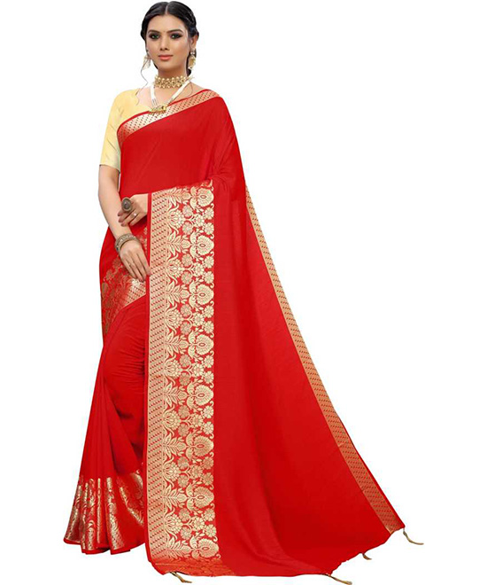Woven Red Kanjivaram Cotton Silk Saree