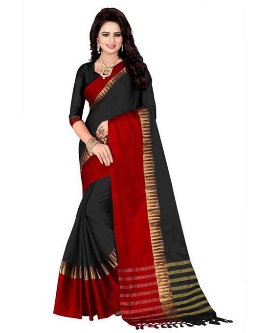 Chanderi Cotton Silk Saree (Red, Black)