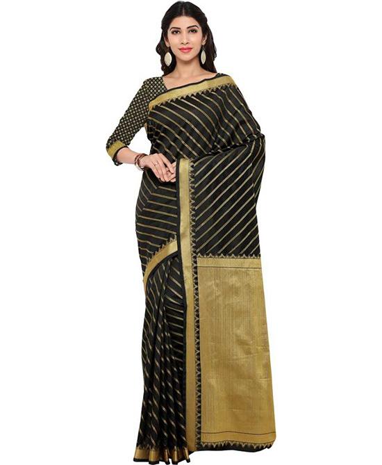 Chanderi Cotton Blend Saree (Black)