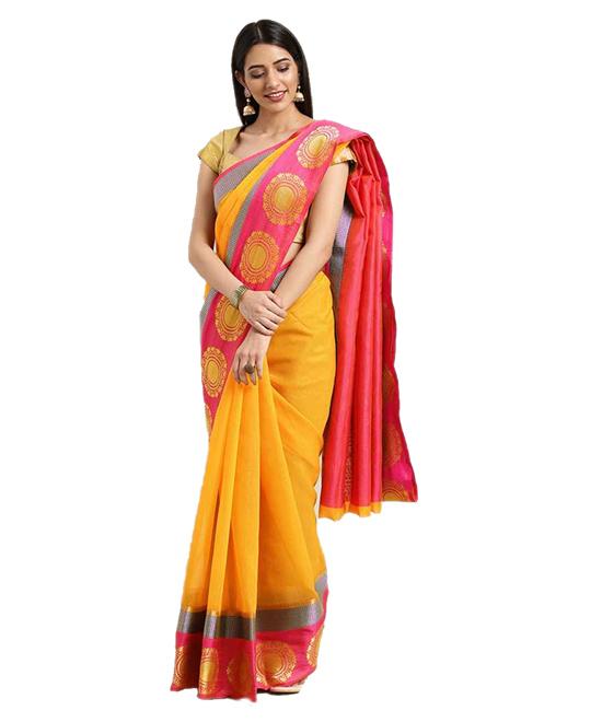 Chanderi Cotton Blend Saree (Yellow)