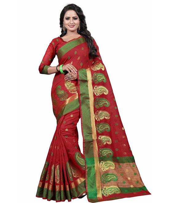 Chanderi Cotton Blend, Pure Silk Saree (Red)