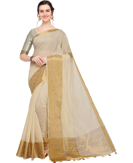 Chanderi Cotton Silk Saree  (White)