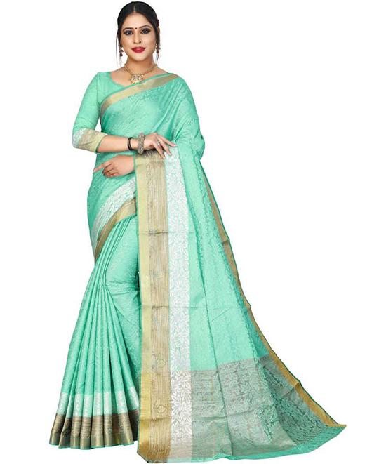 Chanderi Cotton Silk Saree (Green)