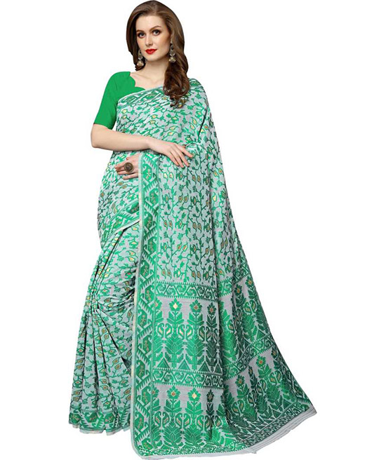 Chanderi Silk Blend, Jacquard Saree  (Green, White)