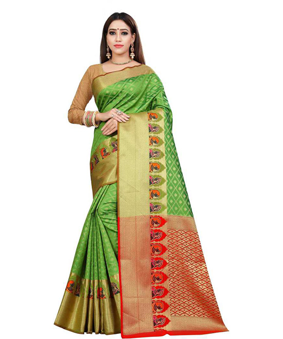 Chanderi Pure Silk Saree  (Green)