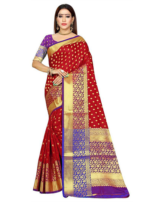 Red Kanjivaram Art Silk Saree
