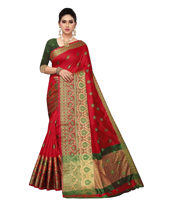 Chanderi Cotton Silk Saree  (Red)