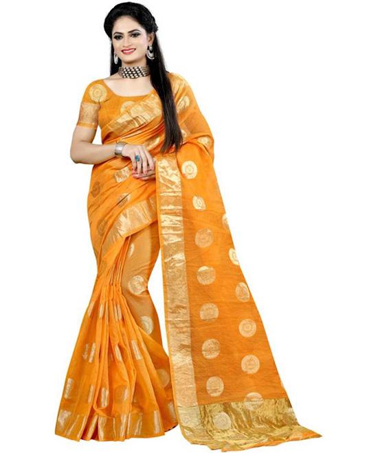 Chanderi Poly Cotton Saree (Yellow)