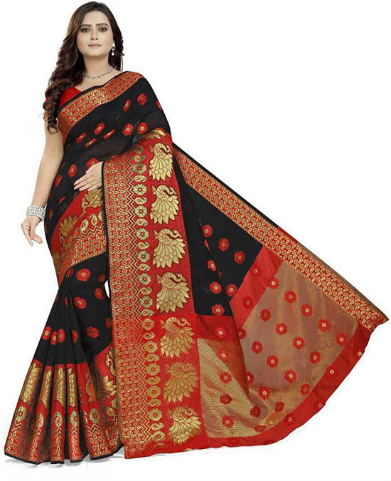 Red Kanjivaram Cotton Silk Saree