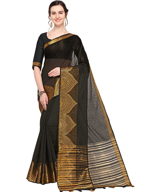 Chanderi Cotton Silk Saree  (Black)