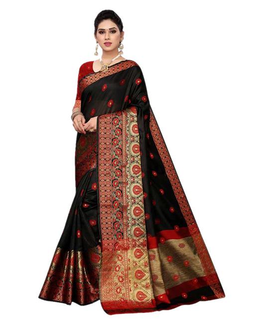 Chanderi Cotton Silk Saree (Black)