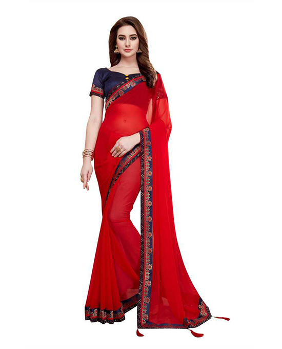 Red Kanjivaram Poly Georgette Saree