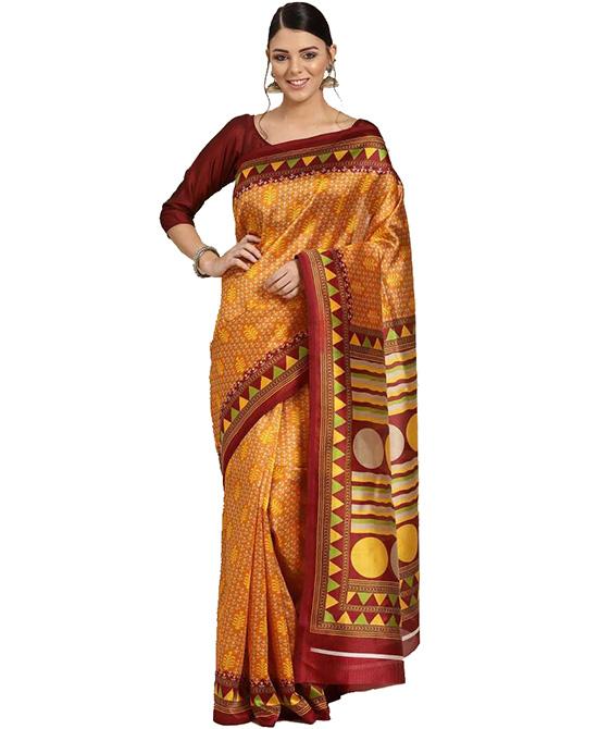 Chanderi Cotton Silk Saree (Yellow)