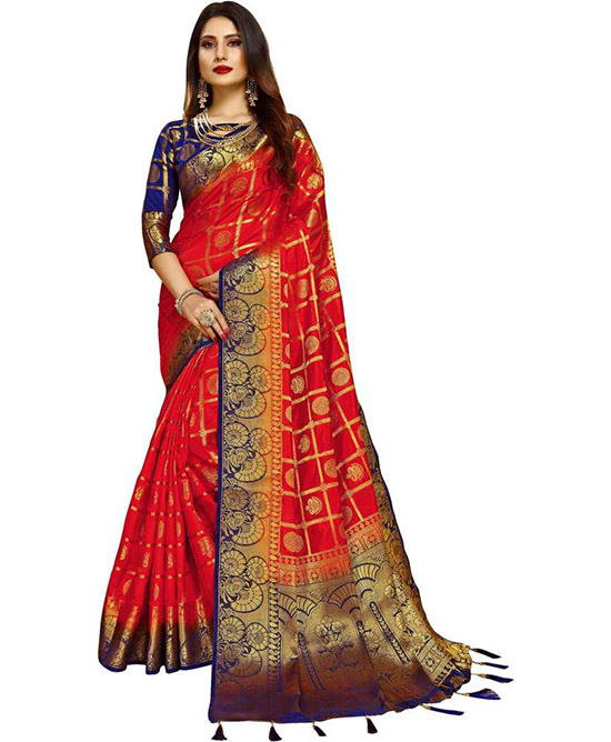 Red Kanjivaram Poly Silk Saree