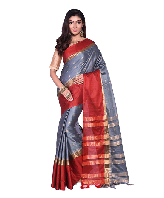 Striped Chanderi Art Silk Saree  (Grey)