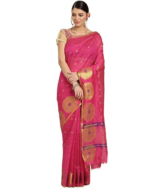 Chanderi Cotton Silk Saree (Pink)