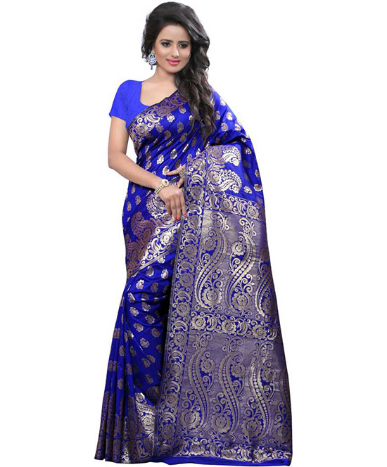Chanderi Handloom Tussar Silk Saree  (Dark Blue)