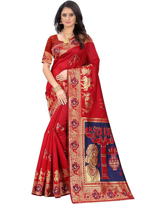 Red Kanjivaram Pure Silk, Poly Silk Saree